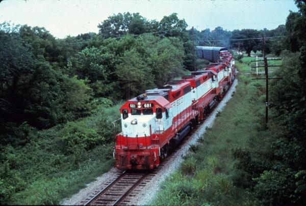 GP38-2 681 West of St. Louis, Missouri in August 1974 (EVDA Slides)