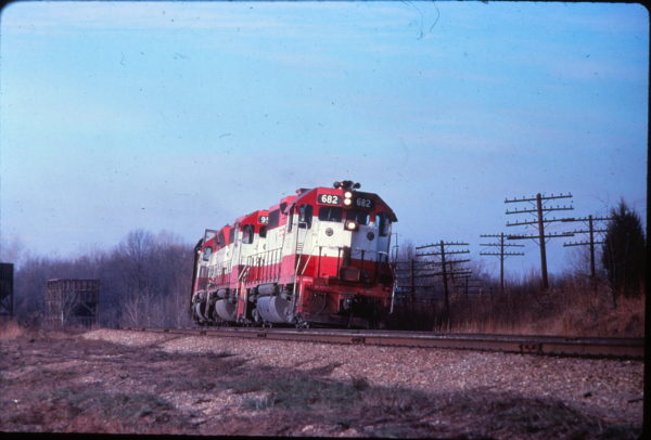 GP38-2 682 near Springfield, Missouri on August 1, 1978 (EVDA Slides)