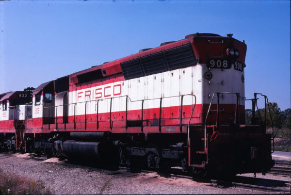 SD45 908 at Springfield, Missouri in September 1978