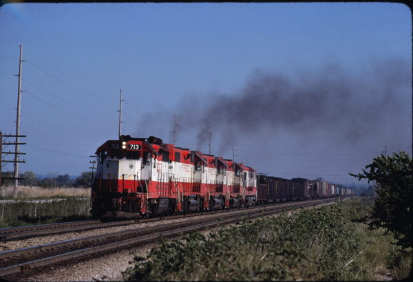 GP35 713 at Fort Scott, Kansas in August 1980 (A. Bee)