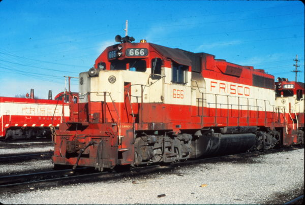 GP38-2 666 at Springfield, Missouri in February 1980 (Vernon Ryder)
