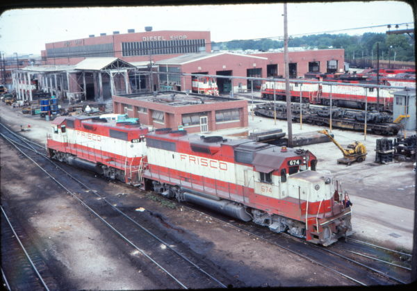 GP38-2s 674 and 687 at Springfield, Missouri Shops in August 1977