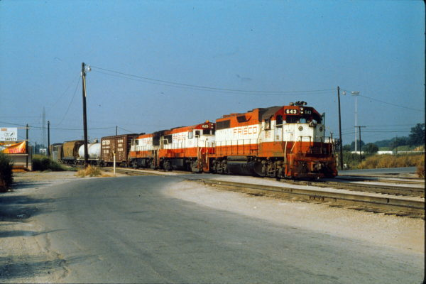 GP38AC 643 and U25B 825 at Tulsa, Oklahoma in August 1979 (Trackside Slides)