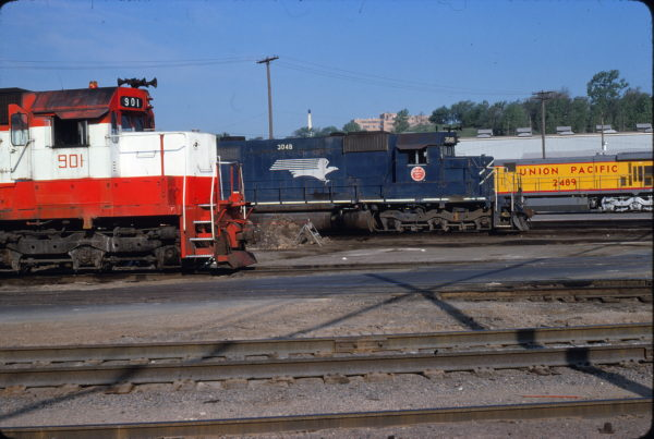 SD45 901, MP SD40 3048 and UP C30-7 2489 May, 1980 Union Pacific's Armstrong Yard