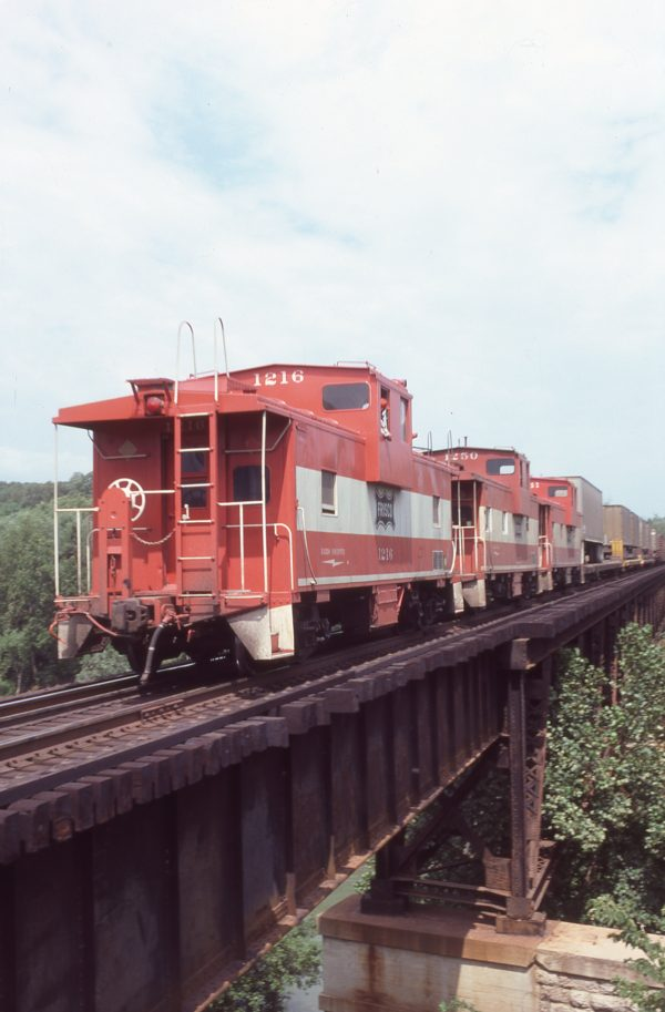 Cabooses 1216, 1250 and 1241 at Diecke, Missouri on August 31, 1980