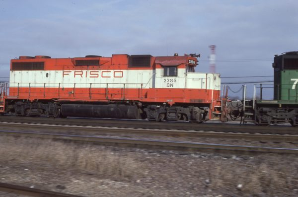 GP38-2 2285 (Frisco 430) at Eola, Illinois on January 27, 1983 (DR Halfield)