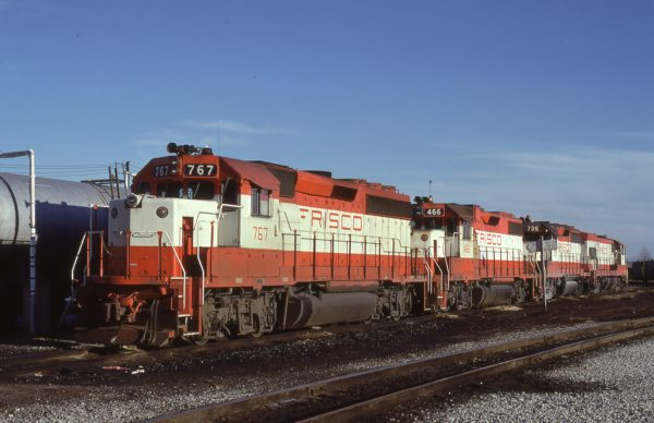 GP40-2 767, GP38-2 466, and GP35 726 at Memphis, Tennessee in October 1980 (Lon Coone)