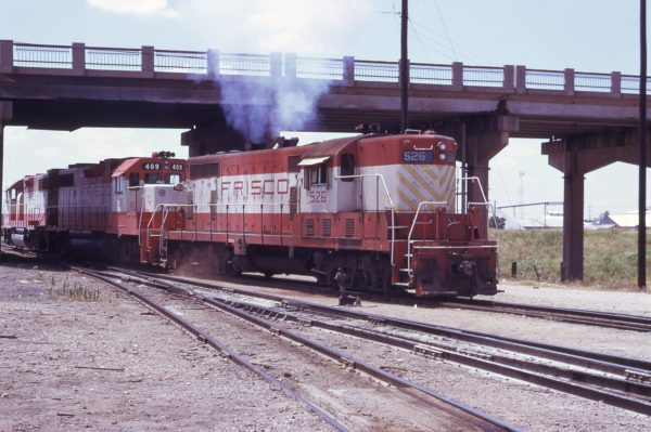 GP7 526 and GP38-2 409 at Oklahoma City, Oklahoma in July 1974