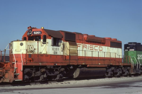 SD38-2 6261 (Frisco 297) at Tulsa, Oklahoma on November 5, 1981 (Ray Kucaba)