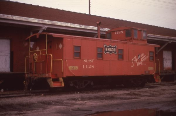 Caboose 1128 at Muskogee, Oklahoma in March 1975