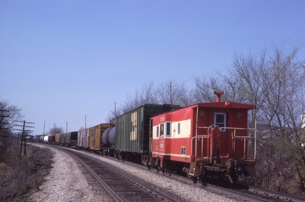 Caboose 1728 at Merriam, Kansas on April 19, 1980 (J.C. Benson)