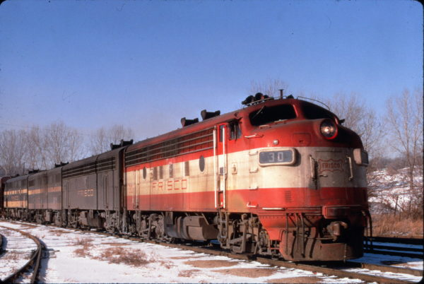 F7A 30 leads a freight train near Springfield, Missouri in January 1969 (Al Chione)