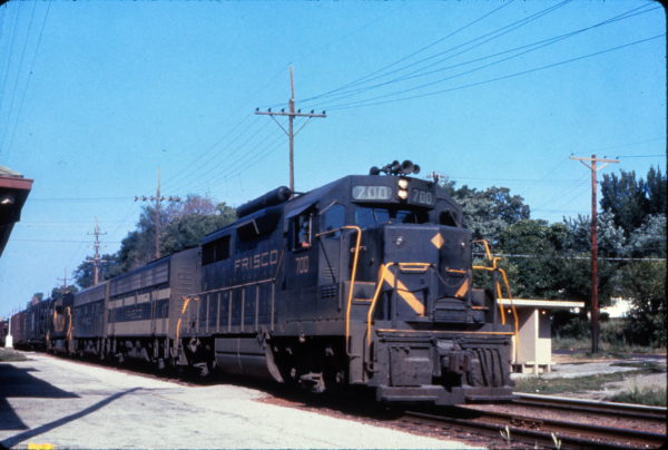 GP35 700 leads a freight train passing the Webster Groves, Missouri depot in July 1965 (Al Chione)