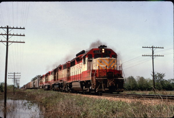 GP35 701 leads three GP38s on a freight train near Tulsa, Oklahoma in May 1973 (Al Chione)