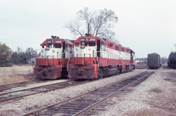 GP38-2s 2288 (Frisco 433) and 2362 (Frisco 692) at Ashdown, Arkansas in November 1982