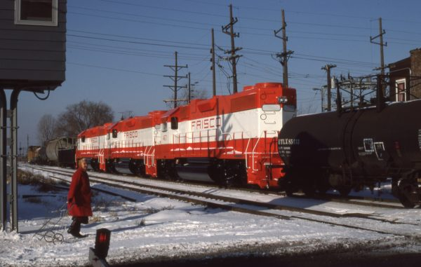 GP38-2s 467, 469 and 468 at Hammond, Indiana in December 1976