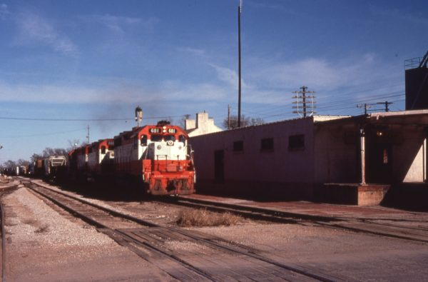 GP38-2s 681 and 666 at Lebanon, Missouri in December 1977