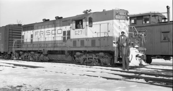 GP7 627 at Clinton, Missouri on January 5, 1974