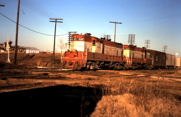 GP7s 537 and 599 at Tulsa Tower