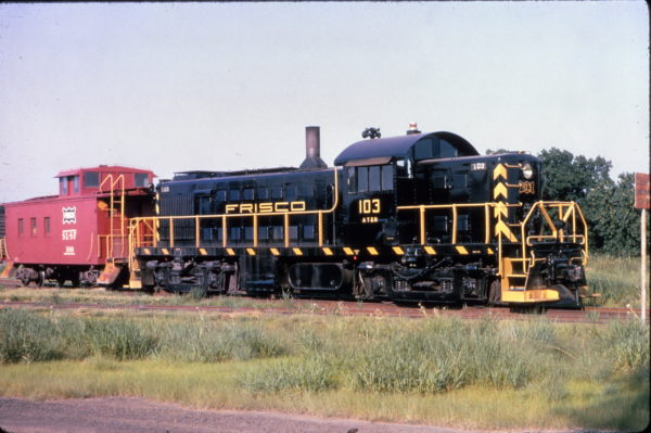 RS-1 (ATN) 103 and Caboose 100 on a caboose hop at Cherryvale, Kansas in July 1965 (Al Chione)