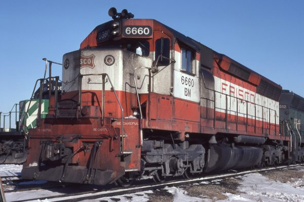 SD45 6600 (Frisco 911) at Kansas City, Missouri on February 13, 1981 (Jerry Bosanek)