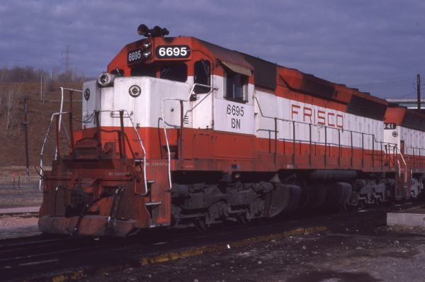 SD45 6695 (Frisco 947) at Omaha, Nebraska on January 28, 1981 (Jerry Bosanek)