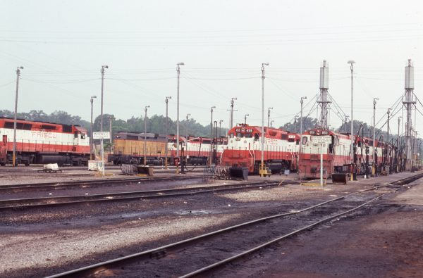 SD45s 929 and 942, GP38-2s 459 and 413 and U30B 850 (location unknown) in June 1977