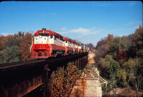 GP40-2 769 leads a freight train at Times Beach, Missouri on October 26, 1980 (Al Chione)