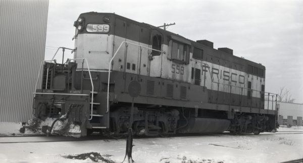 GP7 599 at North Clinton, Missouri on January 27, 1976