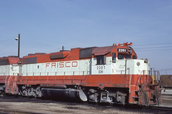 GP38-2 2261 (Frisco 406) at Memphis, Tennessee in February 1981 (Lon Coone)