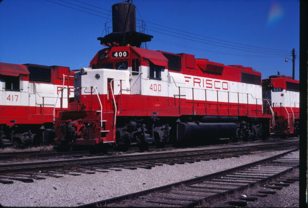 GP38-2s 400, 417 and 669 at Enid, Oklahoma on October 15, 1980 (Gene Gant)