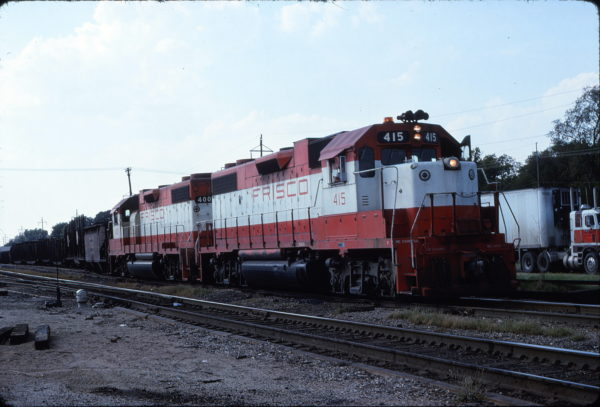 GP38-2s 400 and 415 at Vinita, Oklahoma in August 1978 on an Eastbound local
