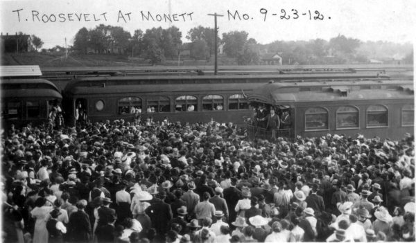 Theodore Roosevelt campaigns in Monett, Missouri on September 23, 1912