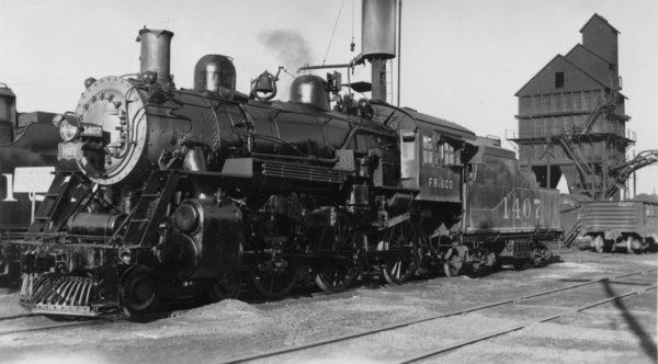 4-6-0 1407 at Monett, Missouri on February 10, 1949