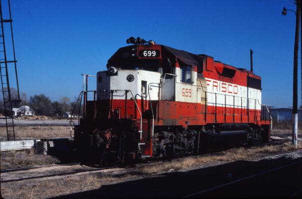 GP38-2 699 at Enid, Oklahoma on November 9, 1980 (Gene Gant)