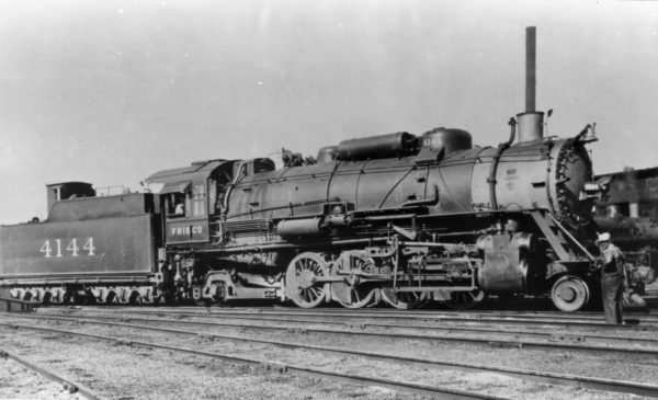 2-8-2 4144 at Monett, Missouri on September 22, 1938