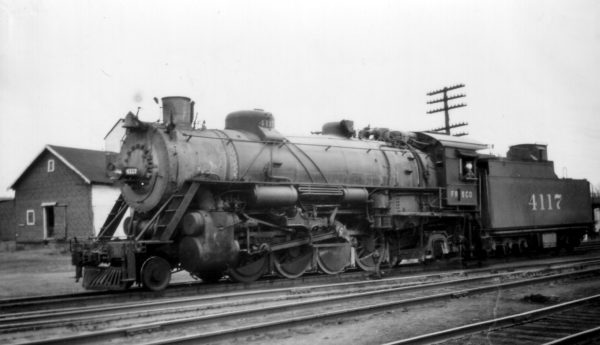 2-8-2 4117 at Monett, Missouri on March 20, 1948
