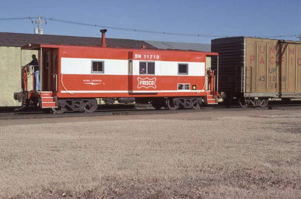 Caboose 11710 (Frisco 1735) at Topeka, Kansas in March 1981