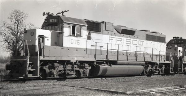 GP38-2 676 at Cherryvale, Kansas on December 9, 1974