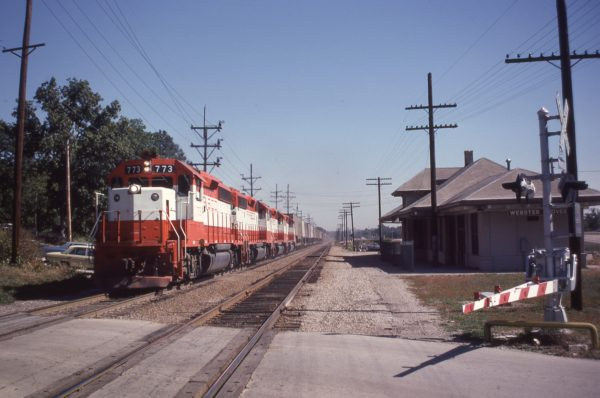 GP40-2 773 at Webster Groves, Missouri in September 1979