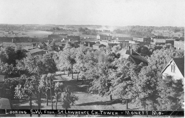 Monett, Missouri - Looking Southwest toward Broadway from the St. Lawrence Church Tower (undated)