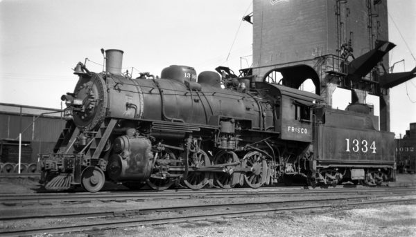2-8-0 1334 at Fort Smith, Arkansas on December 30, 1947 (Arthur B. Johnson)