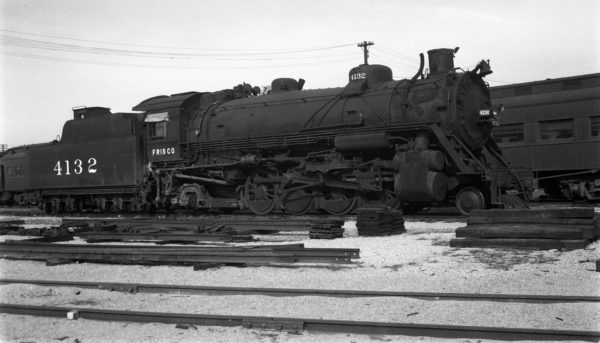 2-8-2 4132 at Springfield, Missouri on November 12, 1950 (Arthur B. Johnson)