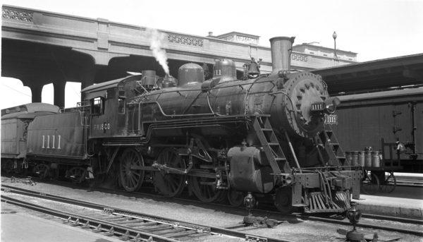 4-6-0 1111 at Springfield, Missouri on March 26, 1949 (Arthur B. Johnson)