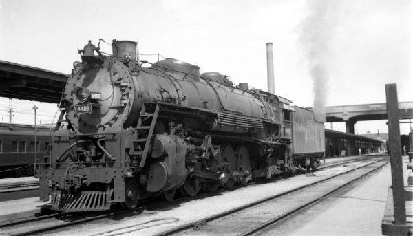 4-8-2 4408 at Springfield, Missouri on August 8, 1948 (Arthur B. Johnson)