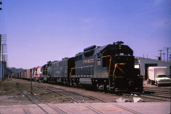 GP35 705 leads a freight at Kansas City, Missouri on April 16, 1965 (Al Chione)