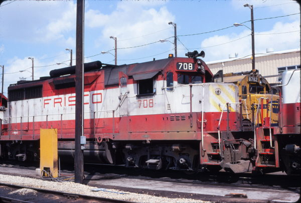 GP35 708 at Tulsa, Oklahoma in August 1977