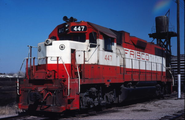 GP38-2 447 at Enid, Oklahoma on March 5, 1980 (Gene Gant)