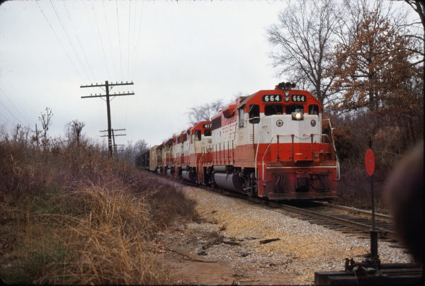 GP38-2s 664 and 417 near Crystal City, Missouri in November 1974 on a Memphis to St. Louis run