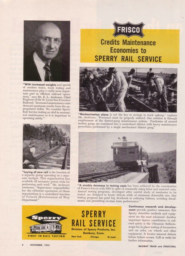 Sperry Rail Service - Railway Track and Structures - November 1955